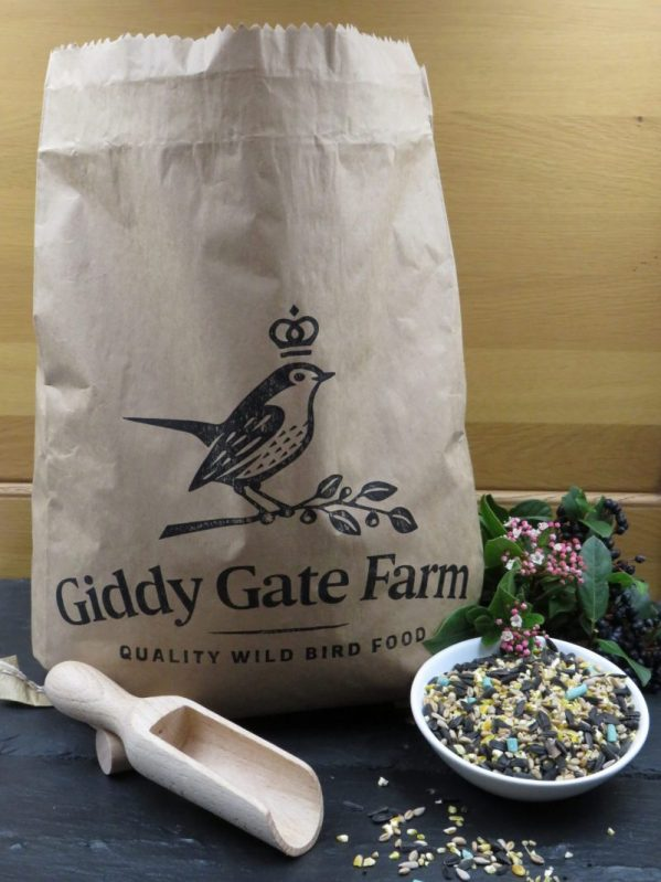 High Energy Seed Mix bird food for feeding wild birds. Recyclable paper sack packaging