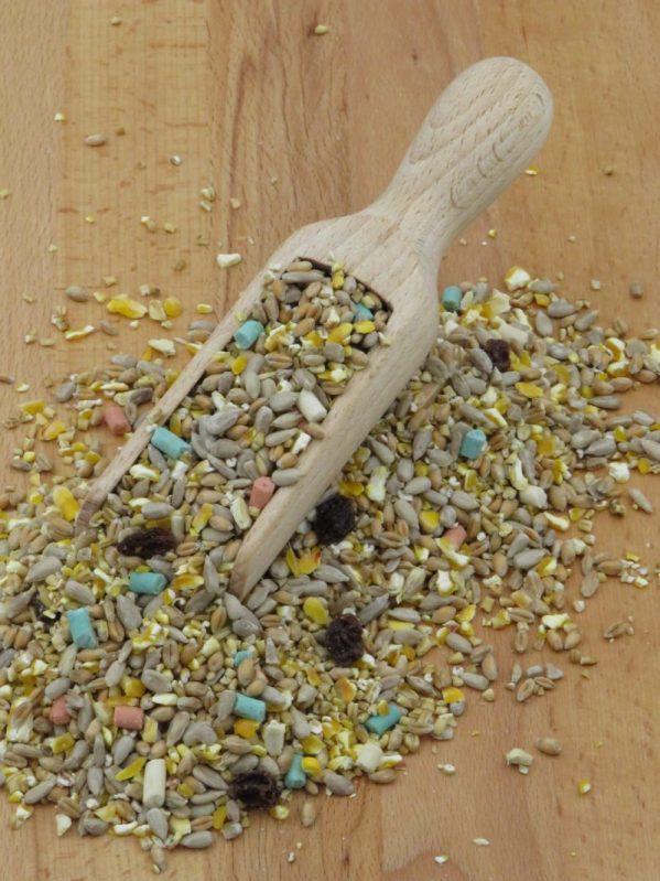 Husk Free Songbird Mix, with raisins. For feeding wild birds. Sunflower hearts and three flavours of suet pellets.