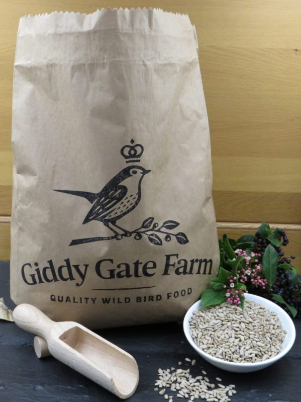 Sunflower Hearts for wild bird feeding. Packaged in recyclable paper sacks.