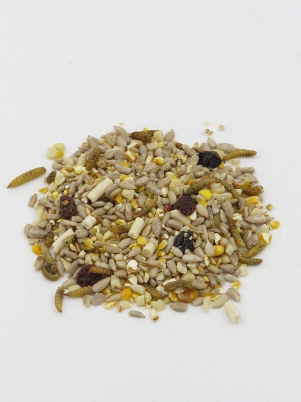 No Mess bird food. Mighty Feast mix for feeding wild birds. Contains raisins, suet and calciworms.