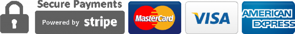 BAdges for secure payments from STRIPE. accepting Mastercard, Visa, American express.