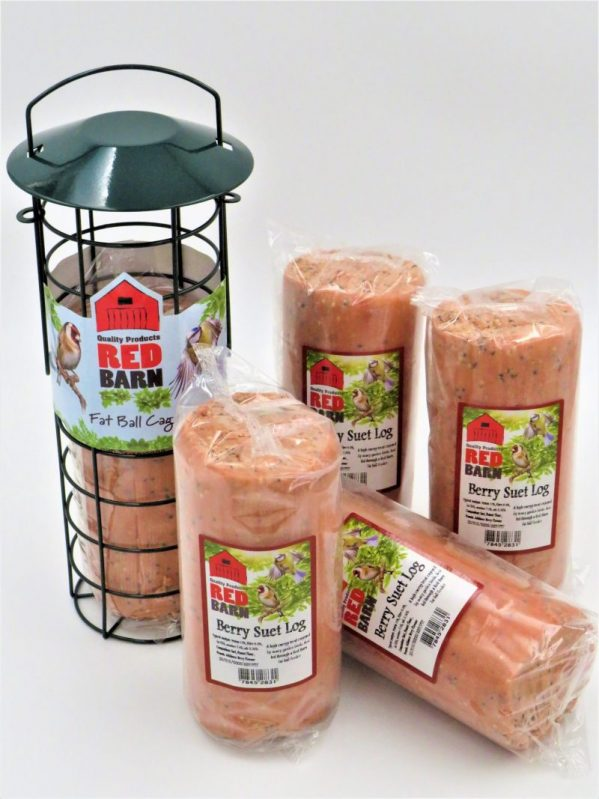 Red Barn suet log for wild birds, berry flavour, 575g. Shown with compatible suet cage