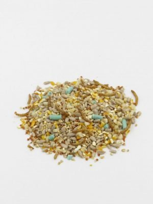 Royal Robin Blend, robin food for feeding wild birds, designed to appeal to robins with sunflower hearts and mealworms