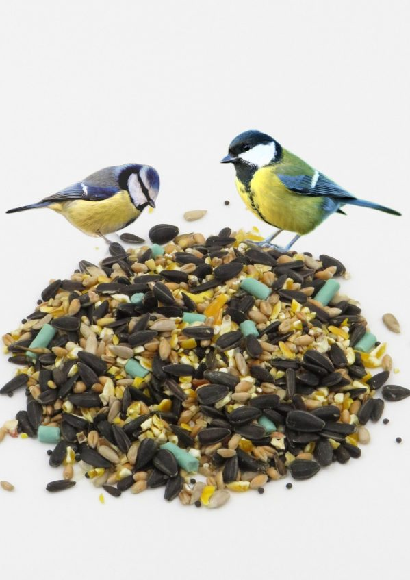 High Energy Mix wild bird food with tits sitting ontop