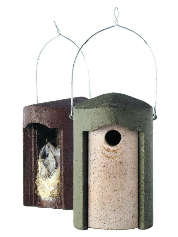 The Official. Woodcrete nest box. Showing green and brown options and easy removal of front to clean inside.