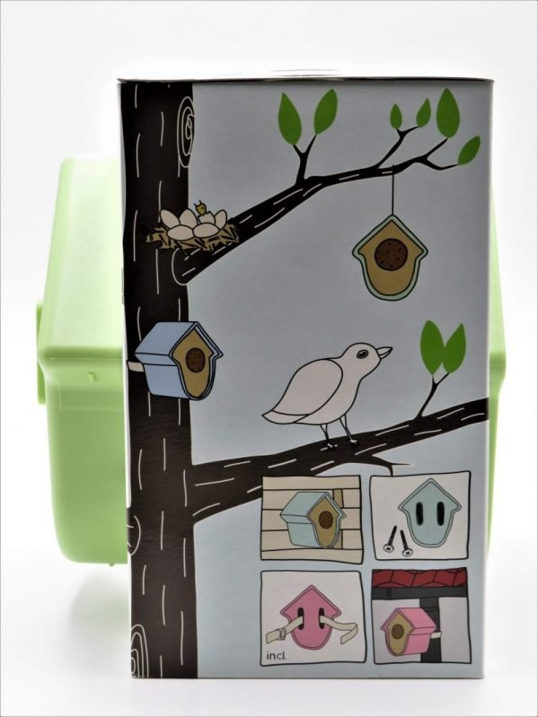 Evie suet log bird feeder, green, side view in box, diagram showing how to attach to fence or drain pipe