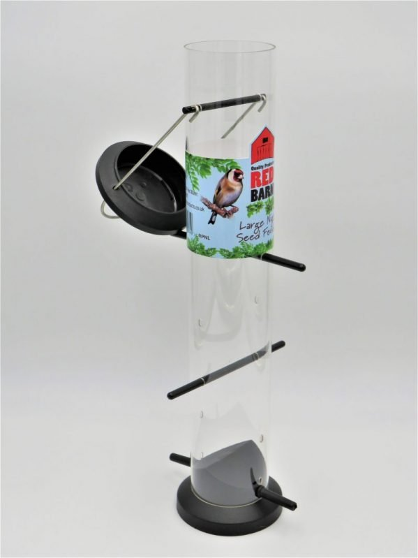 Red Barn black poly nyjer seed feeder, 6 port, flip lid shown open