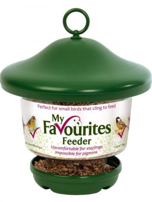 My Favourites seed feeder for feeding wild birds. Durable green polymer lid. Large capacity easy to clean.