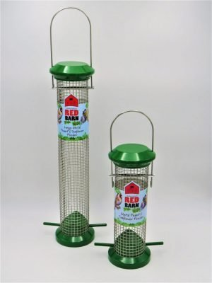 Red Barn wild bird feeder for peanuts, green metal. small and large side by side