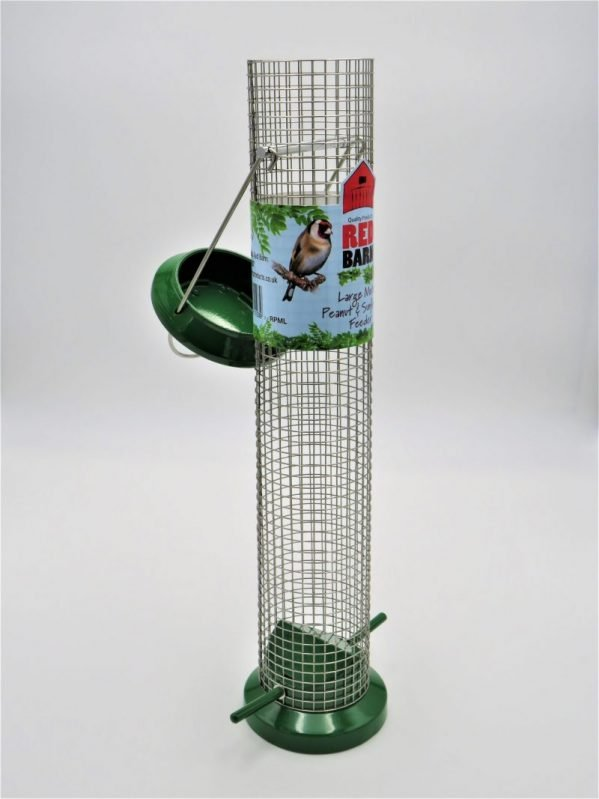 Red BArn large wild bird feeder for peanuts, lid open