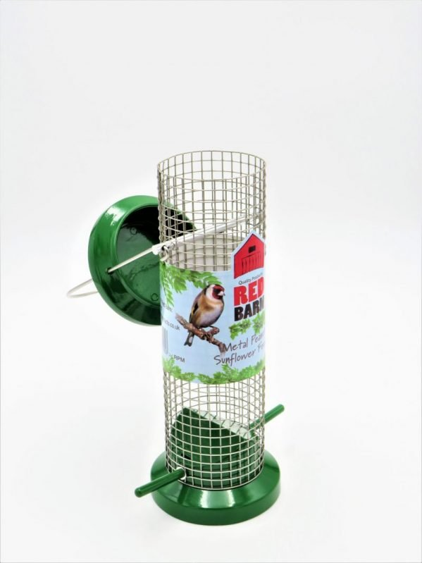 Red Barn metal wild bird feeder for peanuts, small with lid flipped open