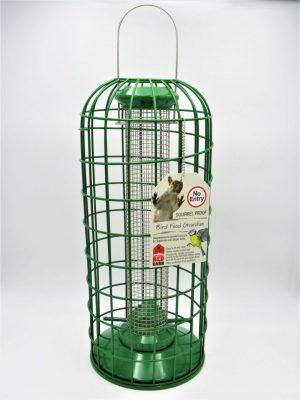 Red Barn Squirrel Guardian for large peanut bird feeder, green metal.