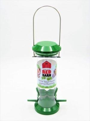 Red Barn green metal bird seed feeder, 2 port