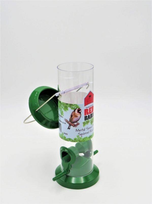 Red Barn green metal bird seed feeder, 2 port, flip lid