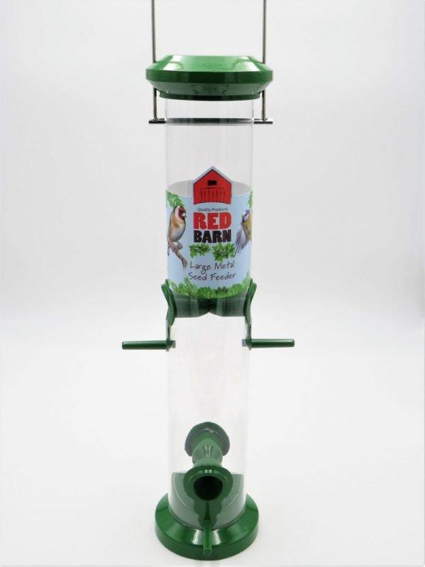 Red Barn green metal bird seed feeder, 4 port