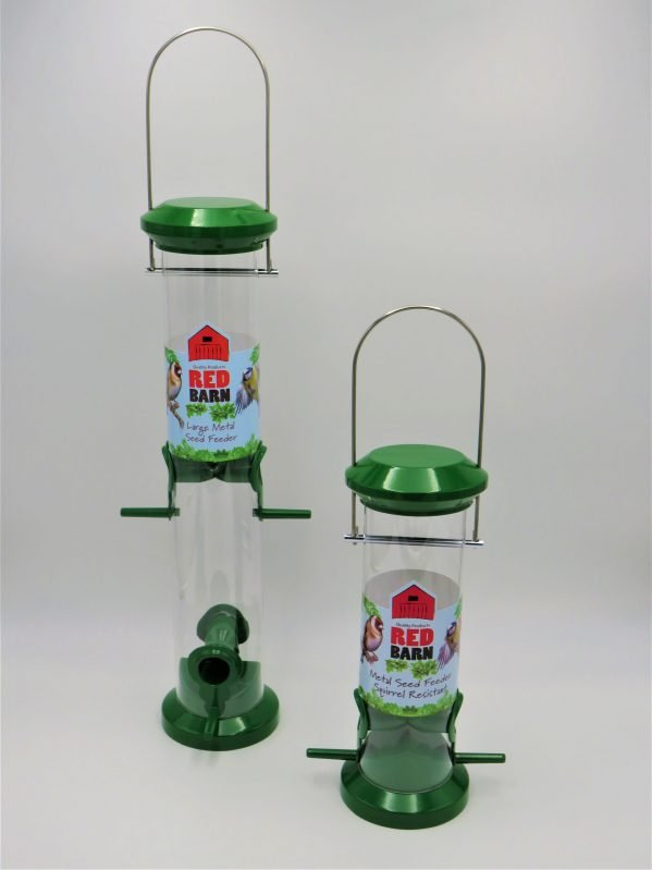 Red barn green metal bird feeder for seed, 2 port and 4 port options side by side