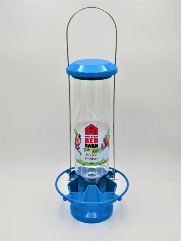 Red Barn Water Feeder for birds, blue metal, 4 port, landing perch all the way round