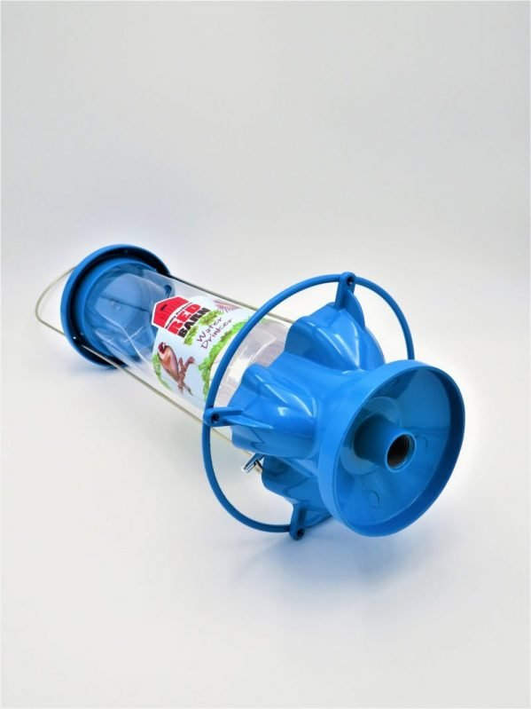Red Barn Water Feeder for birds, blue metal, threaded base for pole attachment