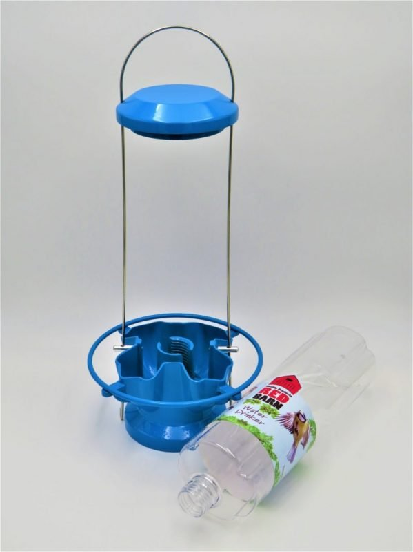 Red Barn Water Feeder for birds, blue metal, 4 port, showing bottle easily removed