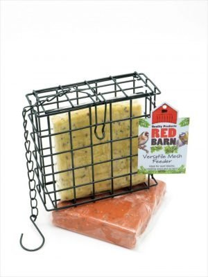 Red Barn Suet block Cage bird feeder with chain and hook. 2 blocks included, berry and insect flavour