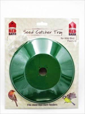Red Barn Seed Catcher Tray for bird feeders in packaging. Green metal, with clear plastic wing nut for ease of attachment