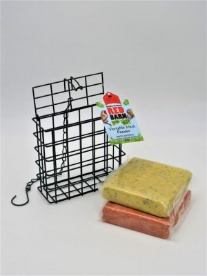Red Barn Suet block Cage bird feeder with chain and hook. 2 suet blocks included, berry and insect flavour