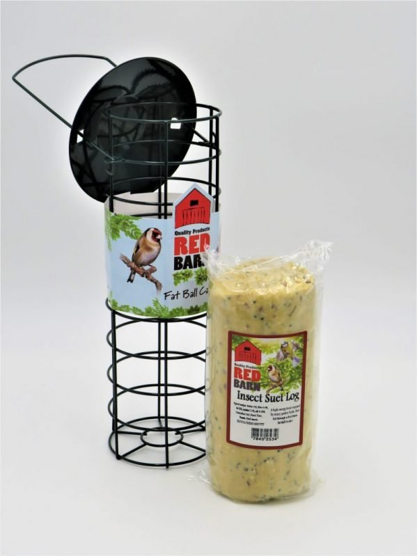 Red Barn metal cage for suet balls or logs, sold with insect flavour log 545g