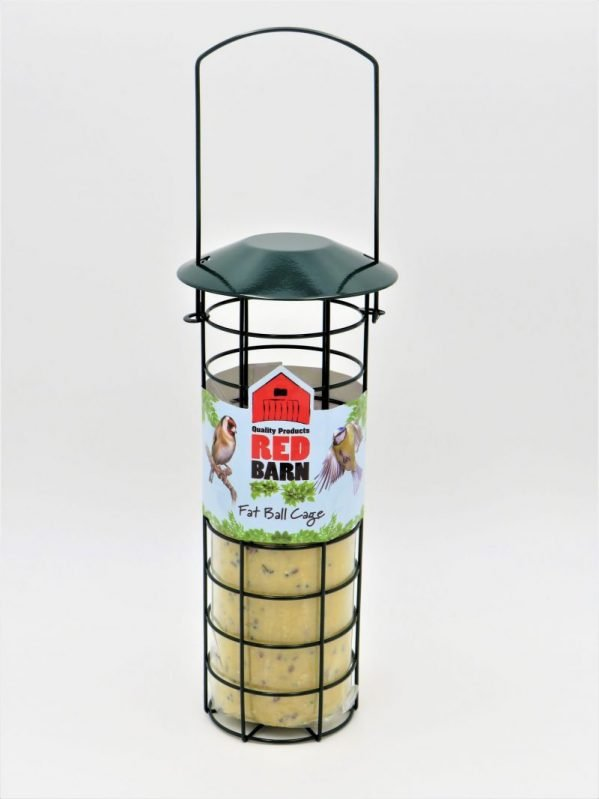 Red Barn metal cage for suet balls or suet logs, sold with insect flavour log 545g
