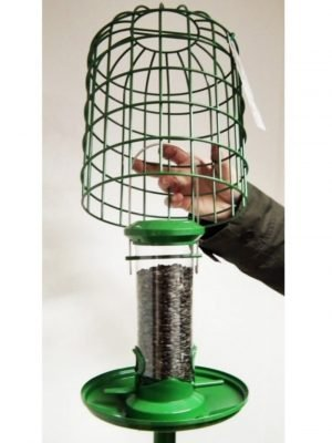 Red barn green metal squirrel guardian with seed feeder, seed catcher tray attached to pole.
