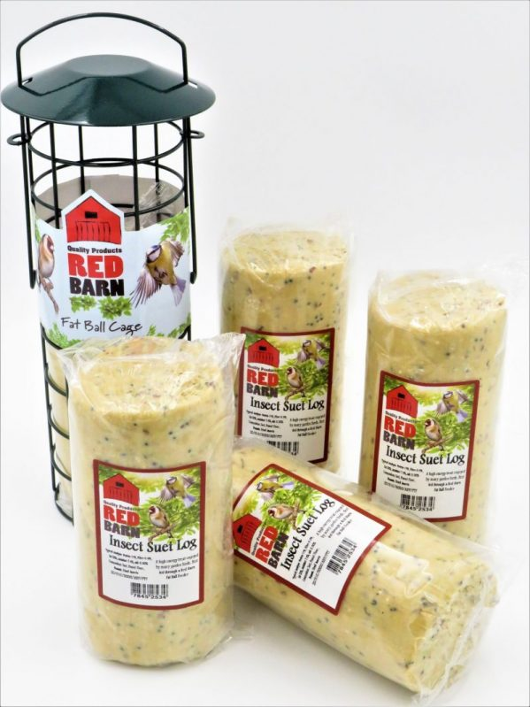 Red Barn suet log for wild birds, insect flavour, 575g. Shown with compatible suet cage.