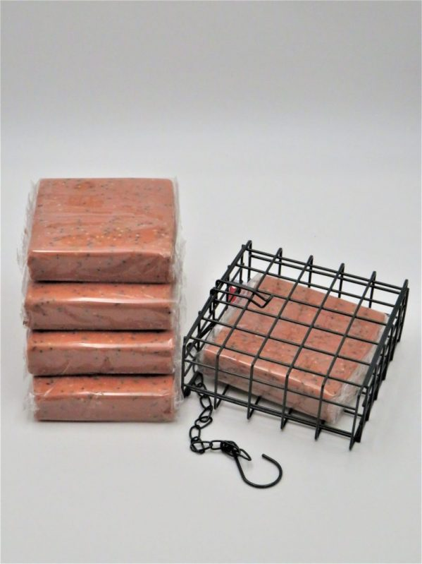 Suet to go. Suet blocks for wild bird feeding, Berry flavour with cage.
