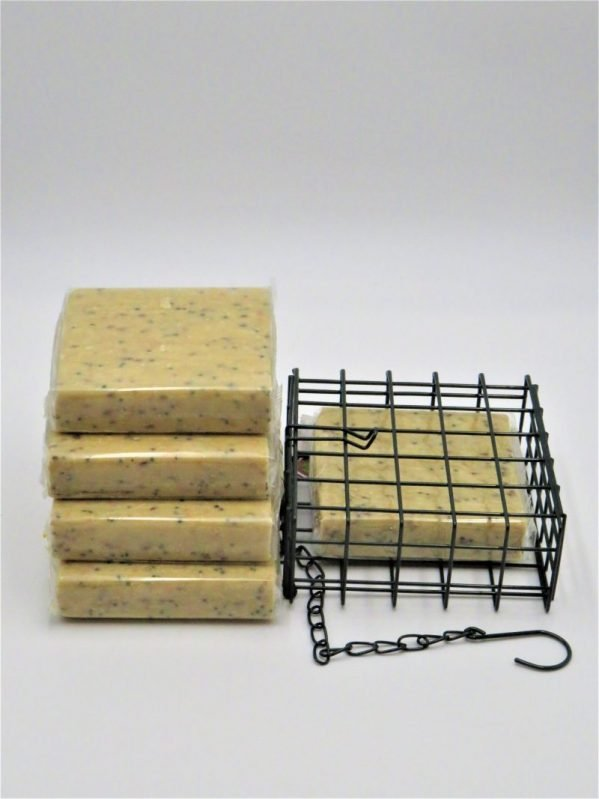 Suet to go. Suet blocks for wild bird feeding, mealworm flavour with cage.
