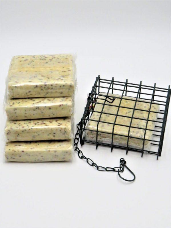 Suet to go. Suet blocks for wild bird feeding, peanut flavour with cage.