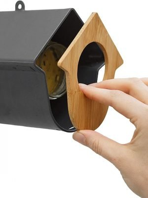 Evie wild bird feeder for bird peanut butter or large suet logs. Front panel easily removed to place jar or log inside.