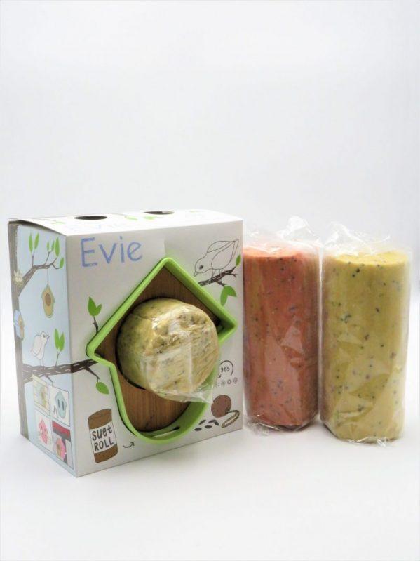 Evie suet log bird feeder, green in box with suet log shown inside and 2 suet logs along side