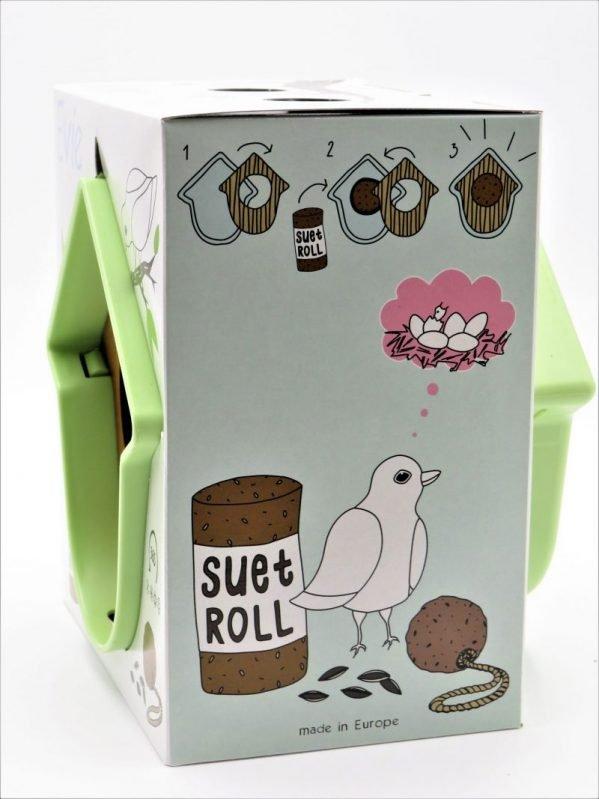 Evie suet log bird feeder, green in packaging