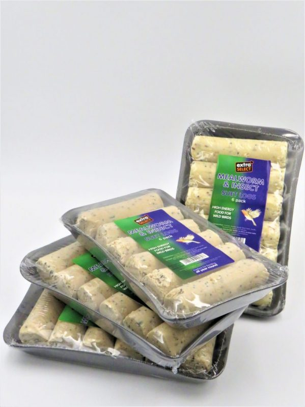 Suet logs for wild bird feeding. pack of 6, to fit in suet log feeder. Mealworm and Insect flavour