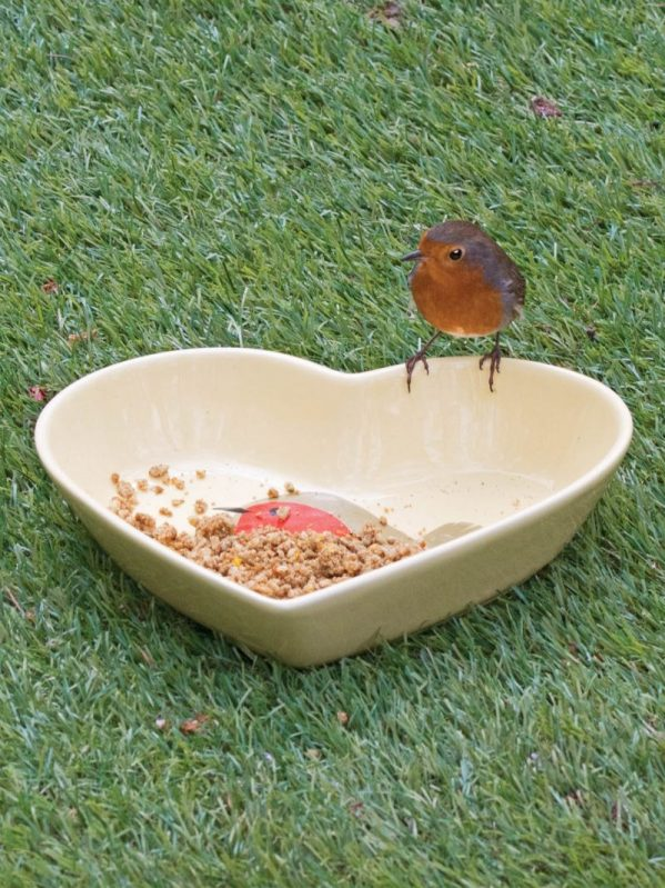I Love Robins Ceramic dish. Heart shaped with a robin design. for wild bird feeding. A lovely gift for a friend
