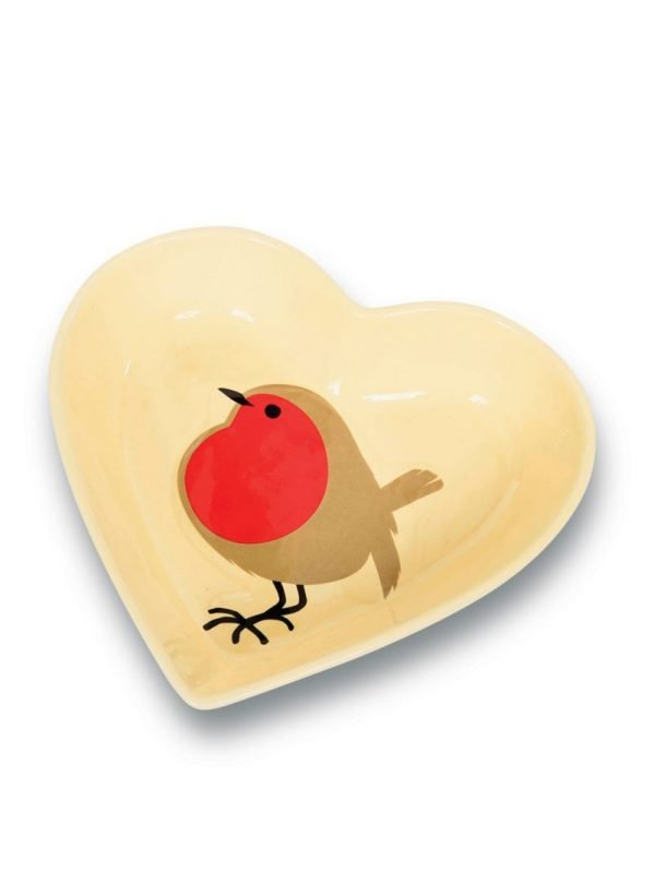 I Love Robins ceramic dish. Lovely fat robin design for wild bird feeding or as a gift for the home.