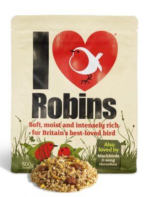 I Love Robins soft food. 500g pouch for feeding wild birds.