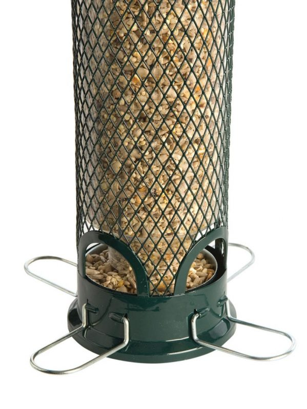 Squirrel Buster Mini squirrel proof feeder for wild birds. Showing ports open for birds to feed.