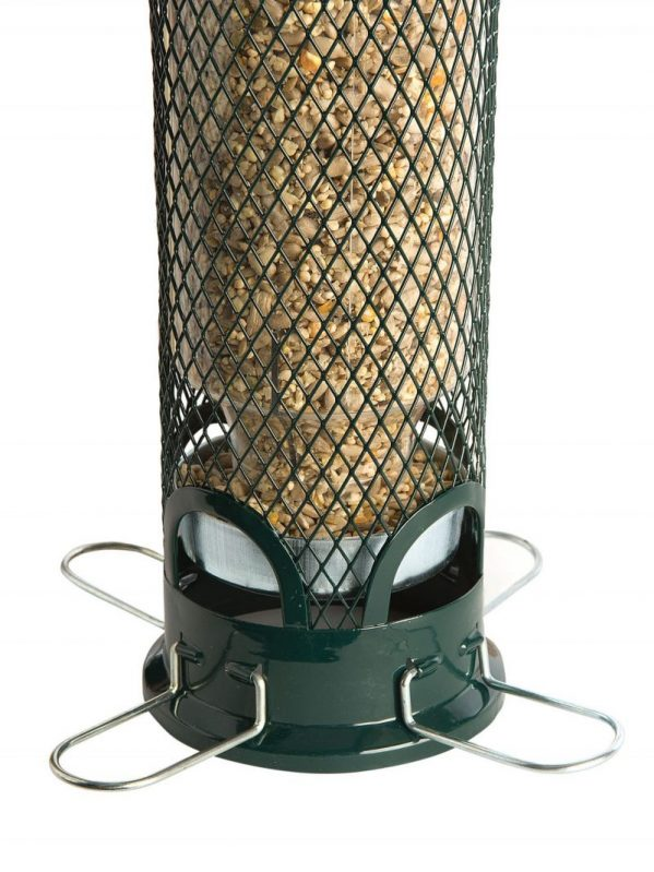 Squirrel Buster Mini wild bird feeder. for bird seeds. Feeding ports close with weight of squirrel.