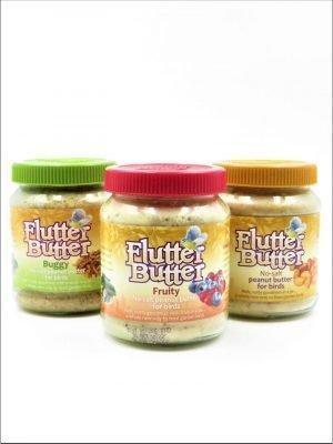 Flutter Butter 330g Jars. Salt free peanut butter for wild bird feeding. 3 Flavours, Fruity, Buggy and Original.