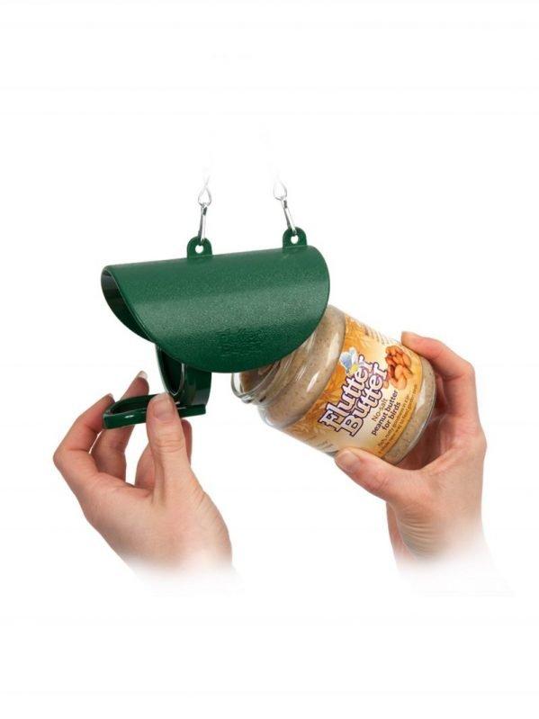 Flutter Butter feeder for salt free peanut butter. Feed Wild Birds. Jar or pod easily screws into feeder.