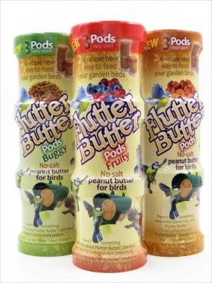Flutter Butter Pods. 3 packs of 3 170g pods. Salt free peanut butter for wild bird feeding in fruity, buggy and original flavours.