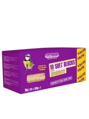 Pack of 10 Insect flavour suet blocks for wild bird feeding