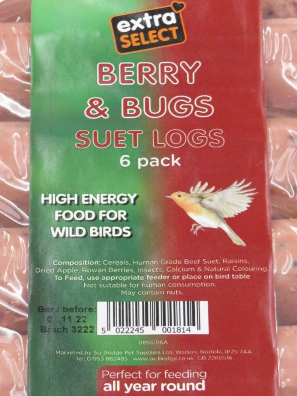 Close up of label for small suet logs in a 6 pack. high energy food for wild birds, berry and bugs flavour.