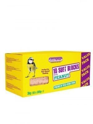 10 Suet blocks peanut flavour for wild bird feeeding. High energy food source.
