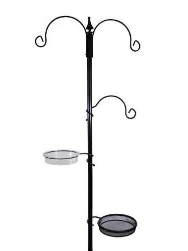 Supa wild bird feeding station vector. showing without feeders. 3 hooks, water dish and feed tray.