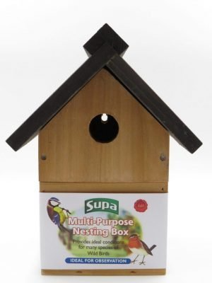 Supa wooden multi-purpose nesting box for wild birds. Can be hole fronted or open fronted.